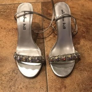 Alisha Hill silver and crystal strappy shoes